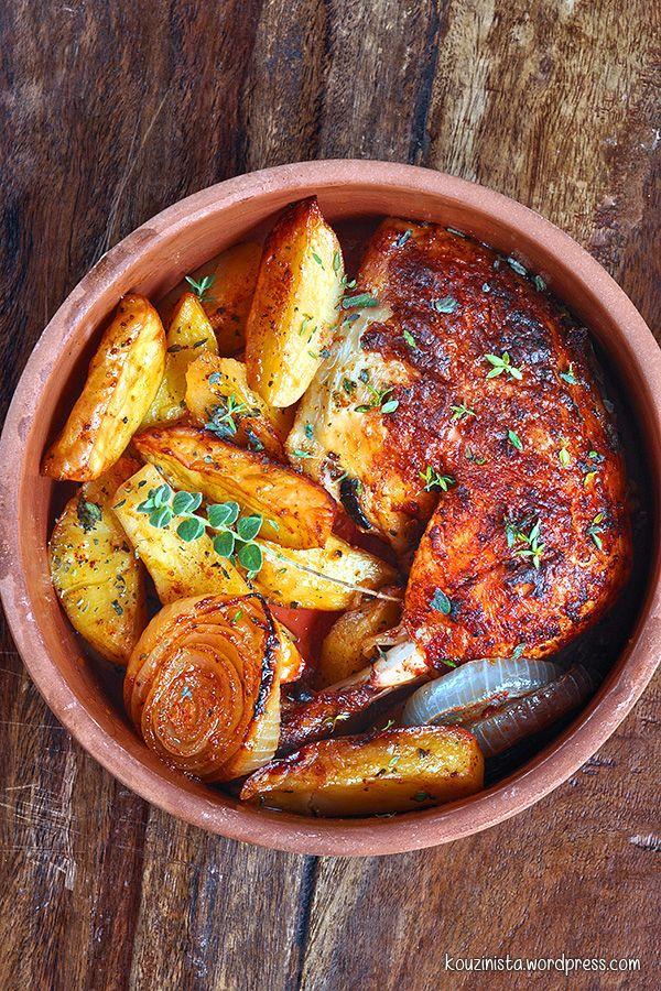 """Ζουμερό, ξεροψημένο ψητό κοτόπουλο """"πεταλούδα""""/Juicy and crispy butterflied roasted chicken"""