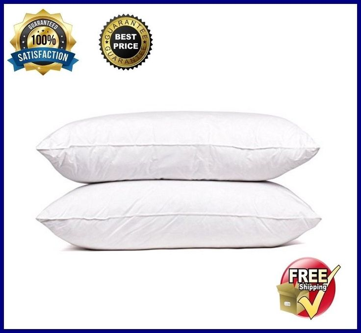 New Down Pillow 100% Goose Feather Pillows Premium Queen Size Bed White Set Of 2 #SweetHomeCollection