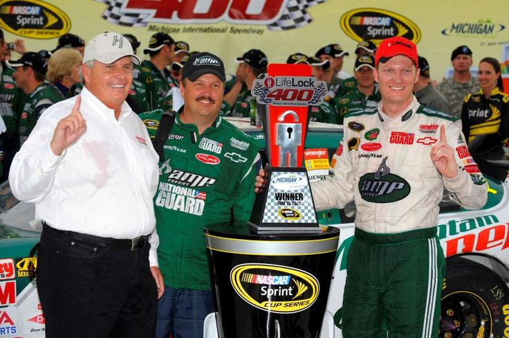 Looking back on Dale Earnhardt Jr.'s 26 career wins  -  April 26, 2017:      MICHIGAN INTERNATIONAL SPEEDWAY, JUNE 2008  -    It was a special day for Earnhardt (right) at Michigan in 2008. It marked his first victory in the No. 88 Hendrick Motorsports Chevy. Crew chief Tony Eury Jr. (middle) and team owner Rick Hendrick (left) join in on the Victory Lane celebration.