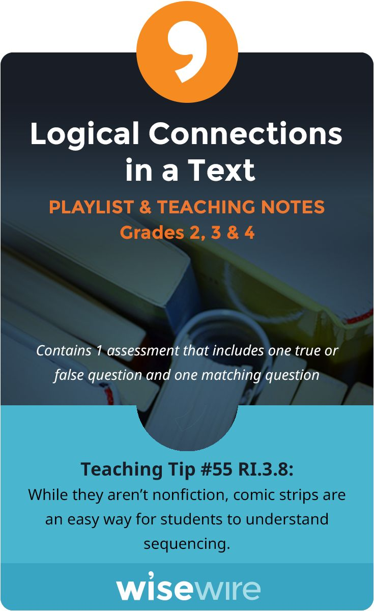 In this playlist, students explore standard RI.3.8. They will describe the logical connection between particular sentences and paragraphs in a text.. Students will take a closer look at how an author uses cause and effect and sequenching. Students also have the option to view instructional videos and complete practice quizzes or activities. @WisewireEd