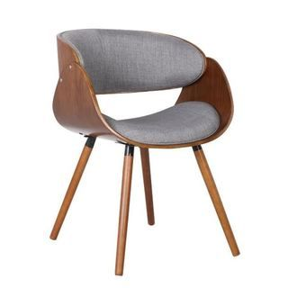 US Pride Furniture Walnut Plywood And Grey Fabric Arm Dinning Mid Century  Style Chair With Wraparound Back (Walnut And Grey Fabric Arm Chair)