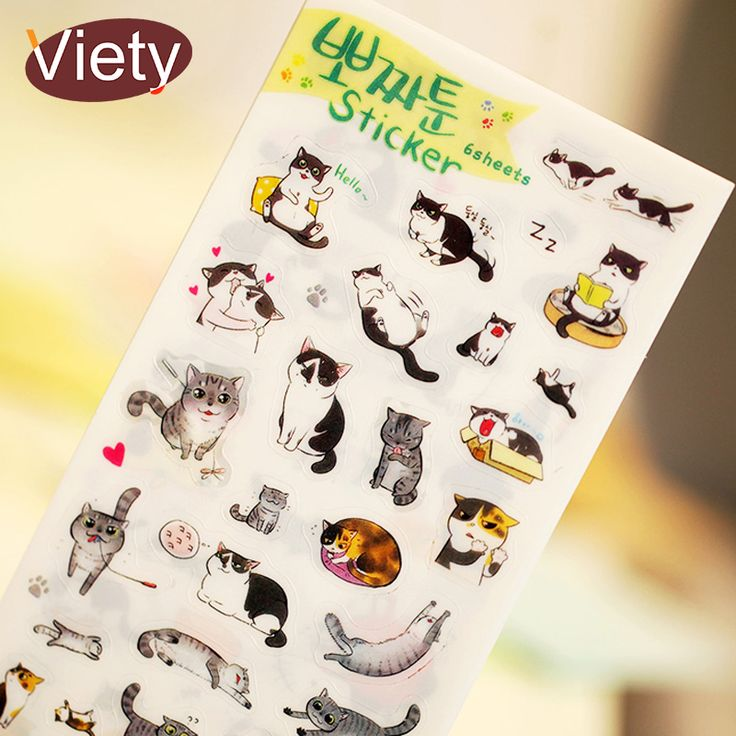 Cheap stationery pen, Buy Quality stationery office directly from China stationery packaging Suppliers: 6 pcs/lot cute cat PVC paper sticker diy planner decorative sticker scrapbooking diary kawaii stationery