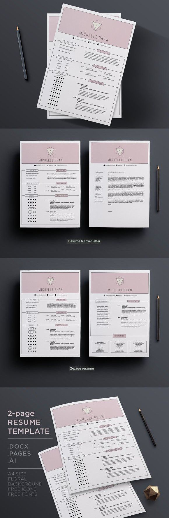 government resume sample%0A Modern   page resume template  template  cvdesign