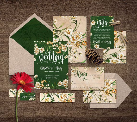 Dark Green DIY Yourself Printable Wedding Invitation 'Snow White' | Rich, dark green watercolour textured mixed with vintage flowers & paper