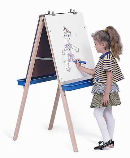 Whitney Bros Adjustable Easel with Chalkboard, Write & Wipe Boards
