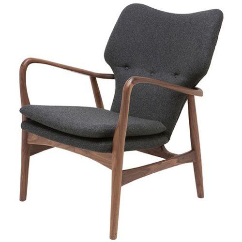 Nuevo Patrik American Ash-Painted Walnut Lounge Chair - Dark Grey Tweed