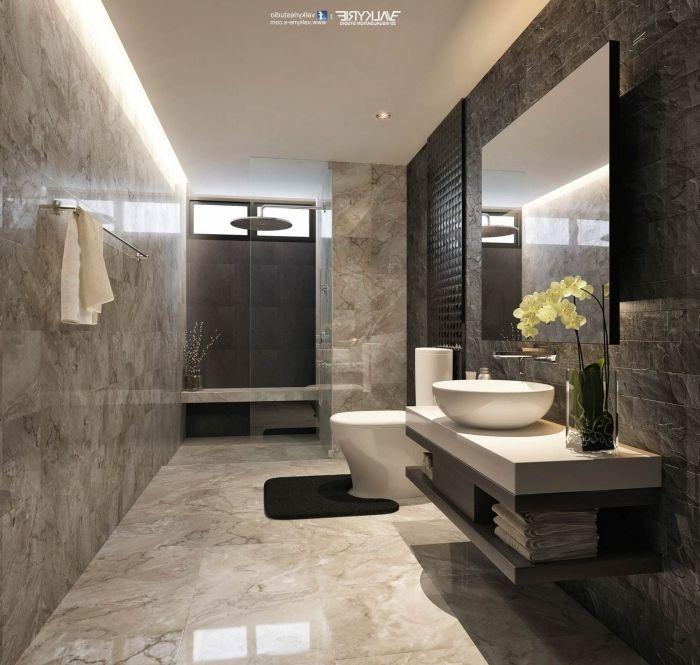 Badezimmer Ideen Fliesen In Marmor Optik Badezimmergestaltung In Braun Und Beige Bad Einrichten In 2020 Luxusbadezimmer Wc Design Bad Styling