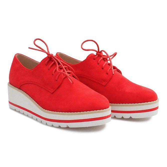 Shoes Women S Butymodne Shoes On The Wedge Jazzowki Lm 029 Czerwony Red Shoes Jazz Shoes Low Boots