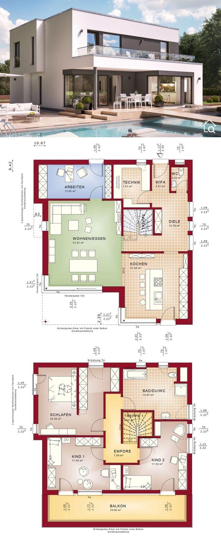 Haus Grundrisse Kleine Villa mit 2 Stockwerken, 4 Schlafzimmern und offenem Konzept Moderner zeitgenössischer europäischer minimalistischer Stil Architektur Design FANTASTIC 163 V
