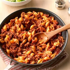 Stovetop Beef and Shells Recipe -I fix this supper when I'm pressed for time. It's as tasty as it is fast. Team it with salad, bread and fruit for a comforting meal. —Donna Roberts, Manhattan, Kansas