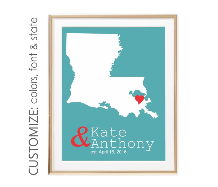 Louisiana Map, New Orleans Wedding Map, Unique Bridal Shower Gift For Bride and Groom Gift For Couple, Love Map, Est Sign - ANY STATE by twowhiteowls on Etsy https://www.etsy.com/listing/492599305/louisiana-map-new-orleans-wedding-map