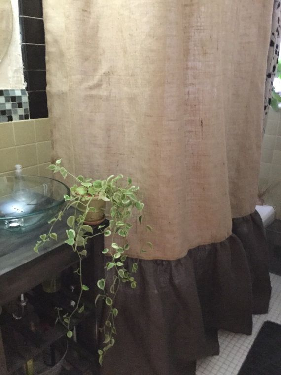 Burlap Shower Curtain Natural/Dark Brown Burlap by dwabsdesigns