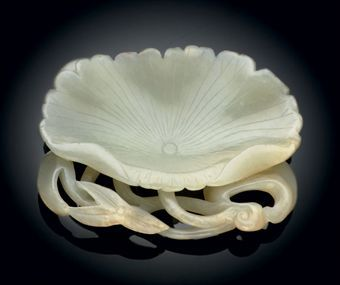 White Jade Lotus Leaf-Form Brush Washer, Jin Dynasty (1115-1234)