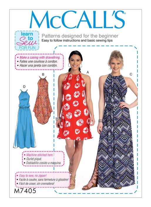McCall's Learn to Sew for Fun sewing pattern. Misses' Gathered-Neckline Dresses with Ties, and Belt. M7405.