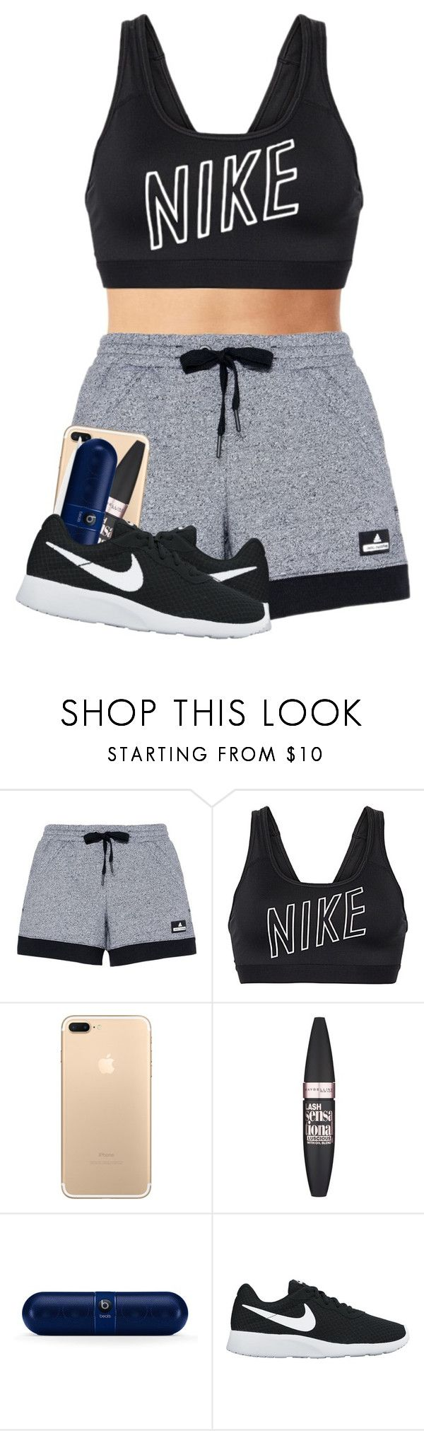 """""""pump it up"""" by cicisquared ❤ liked on Polyvore featuring adidas, NIKE and Maybelline"""