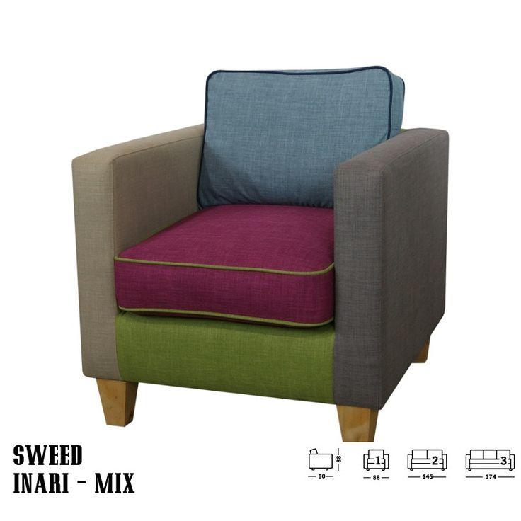Sweed fotel kanapé többszínű MIX:      Egyszerű formája nagyszerűen beleolvad a szobába     Mix színeivel feldobja a helyiséget és színt visz életébe     Akár irodákba is! Hogy miért?: egyrészt egy kanapén ülve kellemesebb, oldottabb hangulatban telnek a megbeszélések és konzultációk.     Kényelmes, kifinomult, lekerekített formákkal     Nappalija kiváló kiegészítője lehet!     Tökéletes vendéglátó helyiségekbe és akár egy váratlan vendég hellyel kínálásához is.