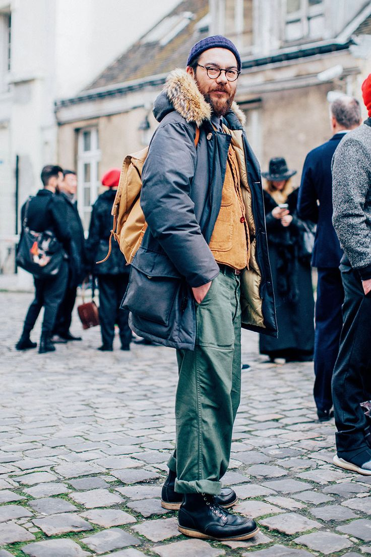 Workwear styling with black Red Wing boots and Parka jacket