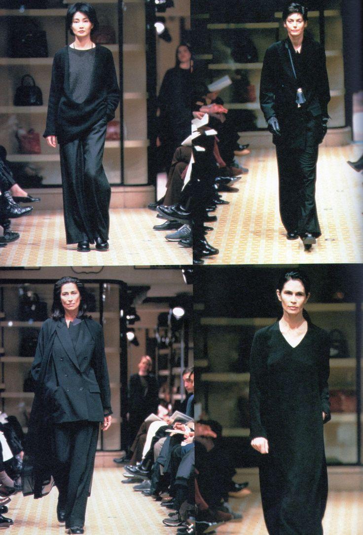 Maggie Cheung walks for Hermès by Martin Margiela, Fall–Winter 1998–1999