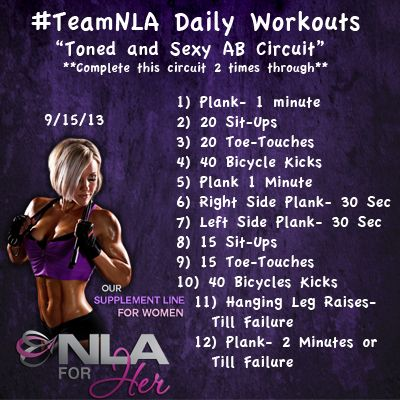Complete this circuit 2 times through and be on your way to a toned and sexy six pack!  End each circuit with leg raises until failure and plank till failure!  #fitness #fitchick #workout