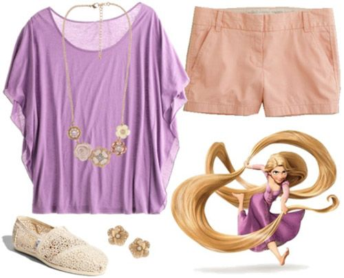 """Rapunzel Outfit #2 ~ This outfit is a little more relaxed than the others, but the flutter sleeves on the tee keep with the girly, princess-y vibe. Again, since Rapunzel doesn't wear shoes, the simple lace TOMS above still maintain a soft, natural look. Finish the look off with neutral floral jewelry for extra princess appeal."""