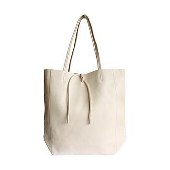 Tania Italian Cream Leather Shopper Bag - £49.99