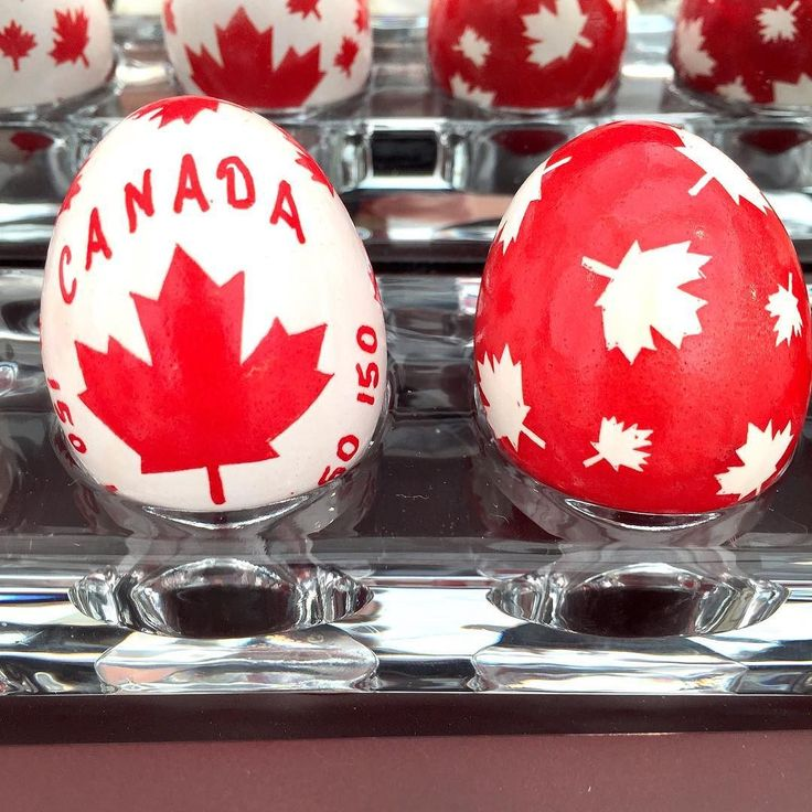 Happy Canada Day! These patriotic eggs were designed and created by my mother Irene Johnston.  She's featuring them in our booth at the Rotary Arts & Crafts Festival this weekend (part of the Cobourg Waterfront Festival). . #canada150 #eggart #happycanadaday