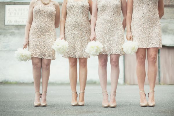 Gold Sparkly Bridesmaids Dresses | photography by http://www.lovetheschultzes.com/