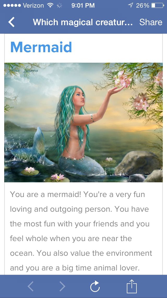 "I'm a Mermaid. Take the ""which mystical creature are you?"" quiz"