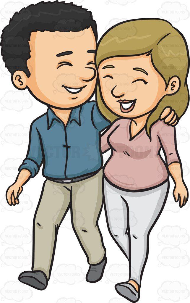 Walking In Love Clip Art: A Happy Couple Cartoon Clipart