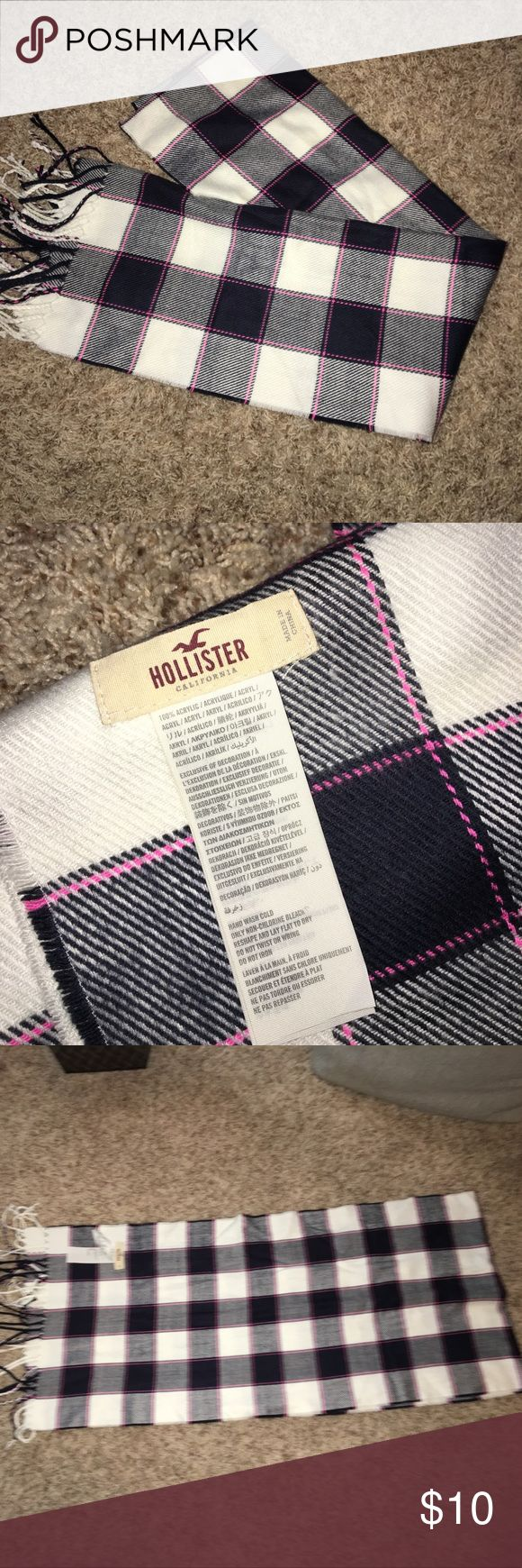 Hollister plaid blanket scarf Navy ivory and pink stripe Hollister Accessories Scarves & Wraps