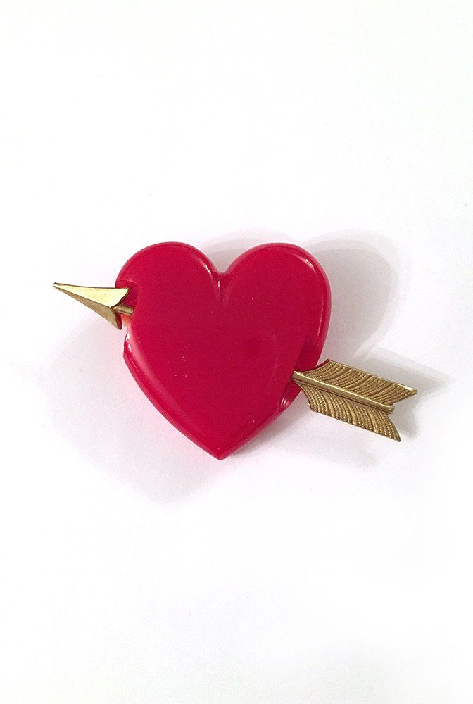 Tainted Love Heart Brooch with Gold Arrow