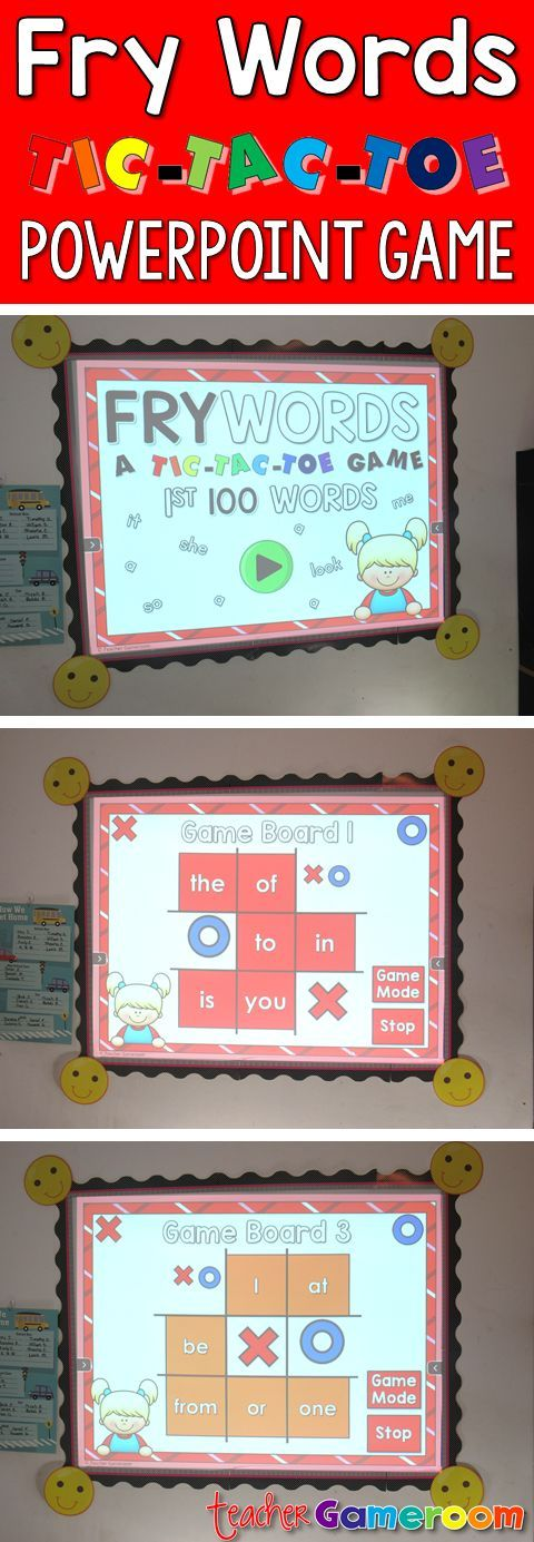 """In this tic-tac-toe powerpoint game, students read the 1st 100 fry word and place their """"X"""" or """"O"""". There are 12 game boards, each with 9 fry words from the first 100 fry words set. Great for Kindergarten, 1st, and 2nd grade. Common Core aligned!"""