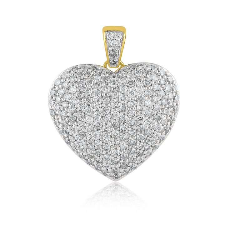 9ct Yellow Gold 2.00ct Diamond Heart Necklace  - Gemstones: DiamondBirthstones: AprilNecklaces: Diamond9ctYellow Gold2.00ctDiamondPave Puffed HeartGold Plated ChainNecklace