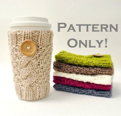 Ravelry: Owl Cable Knit Coffee Cozy pattern by Crystal Lybrink