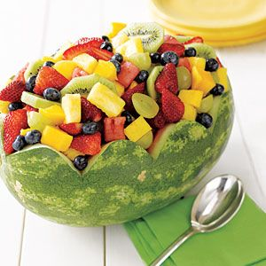 watermelon fruit bowl...my mother always delighted in doing this...she also took pride in making watermelon pickles...me...not so much...