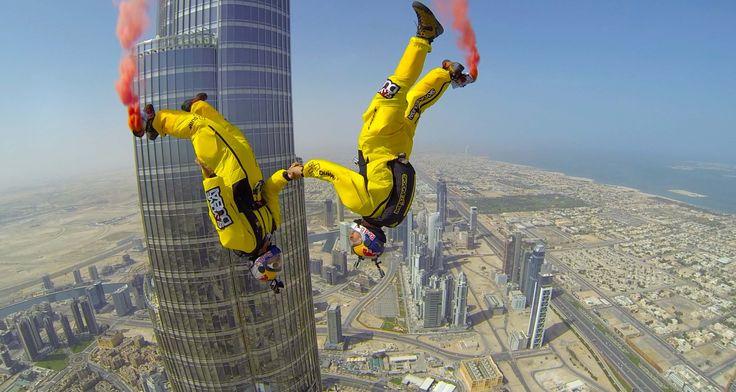 Soul Flyers Basejump Weltmeister Vince Reffet und Fred Fugen haben es geschafft – sie haben einen neuen Weltrekord im Basejumping aufgestellt am Burj Khalifa!