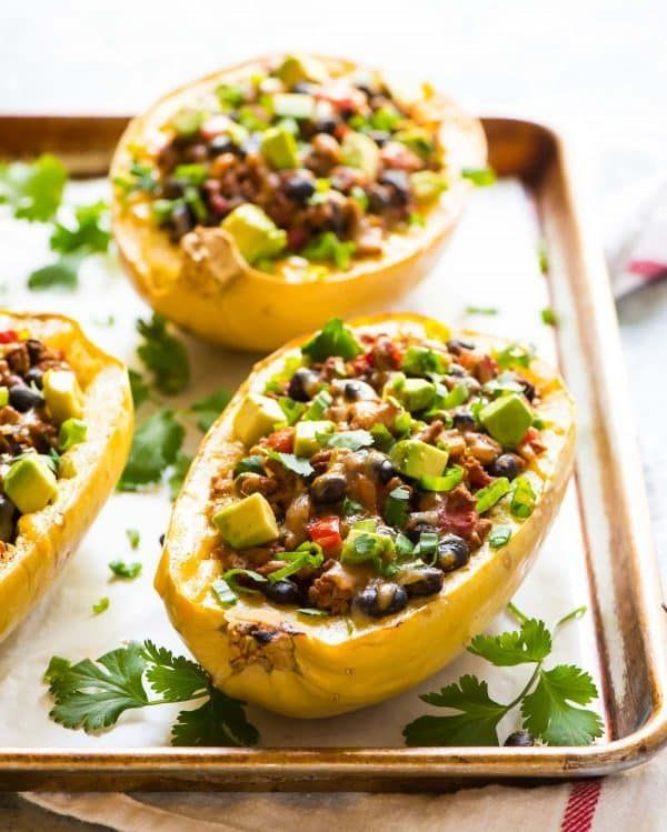 Taco Spaghetti Squash Boats With Ground Turkey Black Beans And