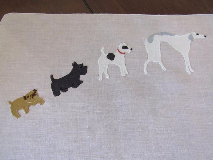 Antique Applique Tray or Vanity Cloth Dogs Greyhound Terrier Pug Scottie Madeira