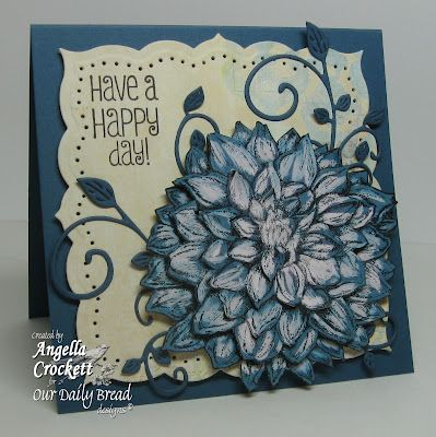 Card 'Ingredients; Stamps: Our Daily Bread designs 'Dahlia' and 'Be Joyful'; Cardstock: Stampin Up Not Quite Navy and Sahara Sand; Designer Paper: Bo Bunny 'Country Garden'; Ink: Stazon Jet Black, Stampin Up 'Marina Mist' Marker; Accessories: Clorox Bleach Pen, Cheery Lynn Designs 'Fanciful Flourish', Spellbinders Labels 26, paint brush, paper piercer, foam tape, craft knife; Size: 4-1/2 x 4-1/2.