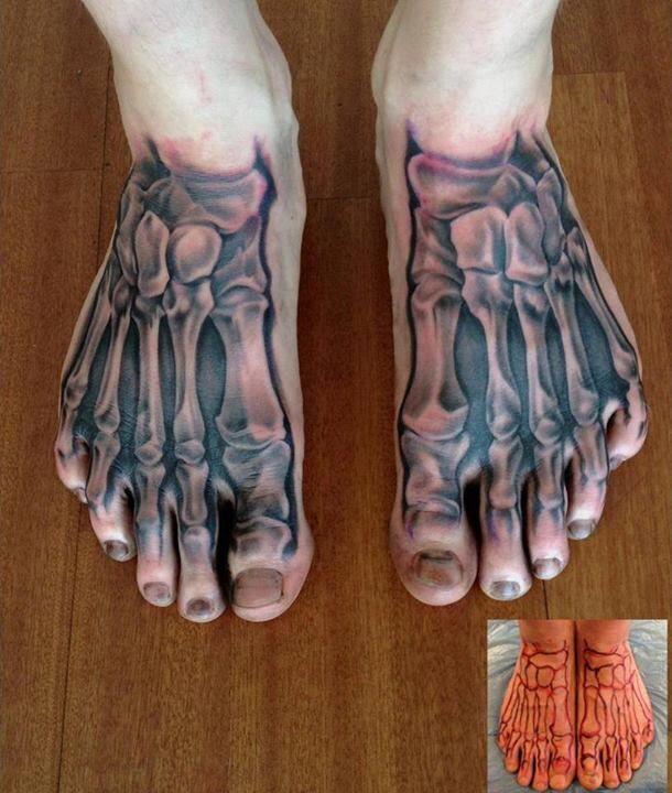 skeleton foot tattoo example of great shading grey wash