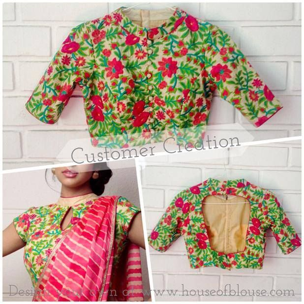 Rich floral twines thread work on a cream raw silk fabric customised as a classic Chinese collar blouse using our fun and easy to use 'style creator'. Give it a go at www.houseofblouse.com . Whatsapp +91 81050 68601. *Shipping worldwide*  #saree #blouse #bollywood #fashion #style #indianwear #threadwork #floral