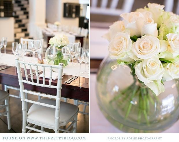 White tiffany chair with white & neutral wedding decor