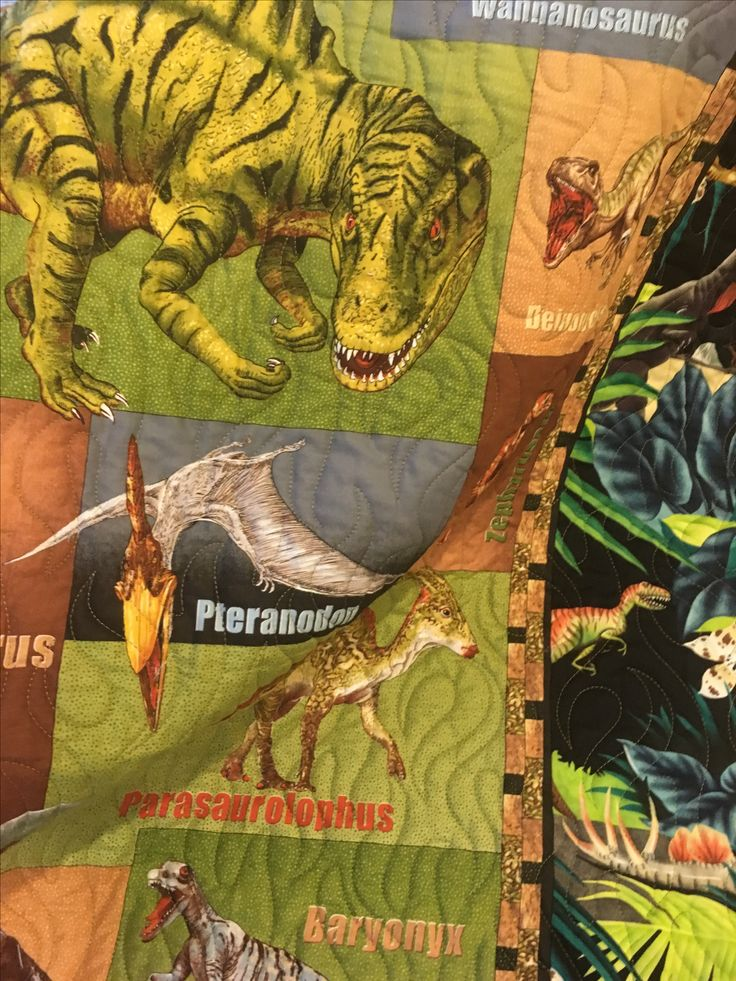 Quilted Legacy- Binding the Generations. Custom quilting and services. Baby dinosaur Quilt.