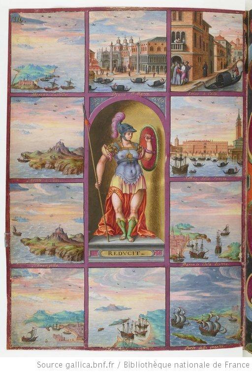 Pallas représentant le courage de Magius, entourée de dix tableaux : (1) Mycènes, (2) arrivée dans l'île de Rive, (3) retraite de l'île, (4) entrée dans le port de Candie, (5) départ de l'île de Vatica, (6) arrivée au port de Quaglia, (7) ville de Parenzo, en Istrie, (8) arrivée à Venise, (9) arrivée de Magius à la maison de son père, (10) place Saint-Marc à Venise Voyages et aventures / de Ch. Magius  Magius, Ch.. Auteur du texte  1578