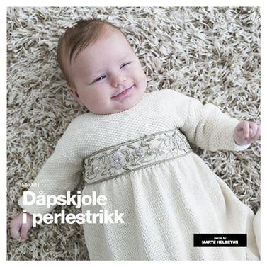 Dåpskjole i perlestrikk - Baby 0-1 år - Oppskrifter og materialpakker - Design by Marte Helgetun