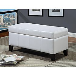 @Overstock - Gain extra storage space and a beautiful accent piece with this white leather storage bench. A built-in wooden serving tray allows this bench to be converted into a buffet area, and the padded top offers comfortable additional seating for guests.http://www.overstock.com/Home-Garden/White-Synthetic-Leather-Storage-Bench-with-Wood-Serving-Tray/5882788/product.html?CID=214117 $76.99