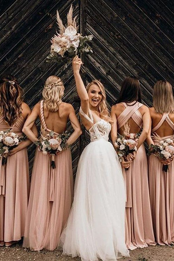 Convertible Bridesmaids Dresses, Long Pink Bridesmaids Dress, Wedding Pictures, Wedding Photos #sevenprom #weddingpictures #bridesmaids