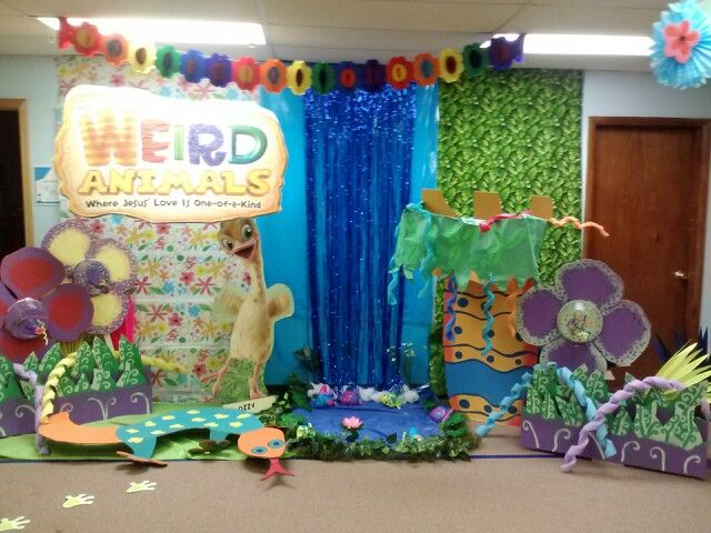 Decorations in our preschool room. Weird Animals VBS