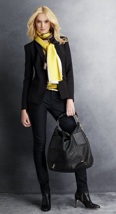 equestrian: Black Outfits, Pop Of Colors, Business Fashion, Yellow Scarfs, Style, Yellow Scarves, Work Outfits, Lemon Yellow, Bags