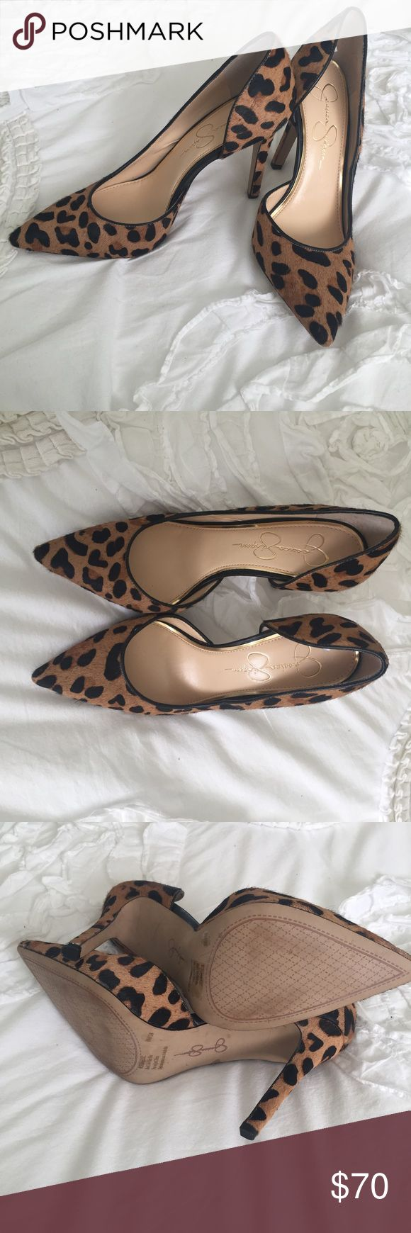 """Jessica Simpson stiletto cheetah print size 8 heel Jessica Simpson single-sole stiletto in cheetah print. Genuine calf hair upper and synthetic lining and sole. 4"""" heel. Very lightly worn. Once. Jessica Simpson Shoes Heels"""